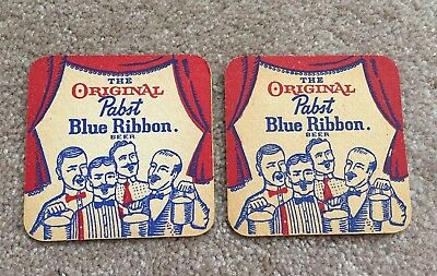 2 Vintage Pabst Blue Ribbon Beer Coasters - RARE
