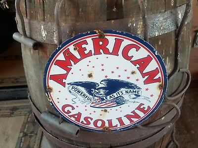 "Powerful as its name ""American"" gasoline vintage porcelain gas station sign"