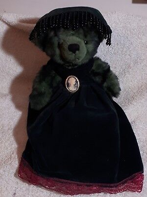 Vintage greenTeddy in velour dress and beaded hat, broach & knickers - unbranded