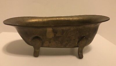 Miniature Vintage Brass Footed Bathtub Soap Dish Trinket Bowl Bathroom Decor