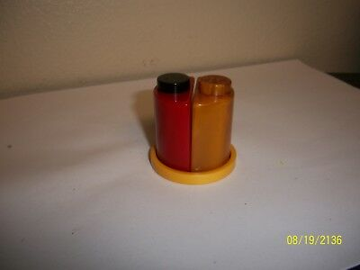 Bakelite Half Moon Circle Salt And Pepper Shakers With Tray.