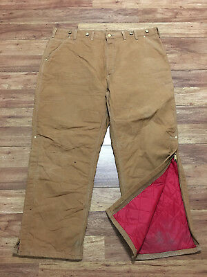 MENS 44 x 30 - Vtg B10 Carhartt Duck Quilted Insulated Rancher Work Pants USA