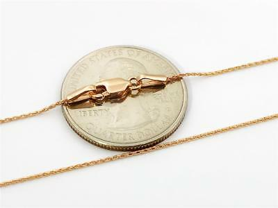 """14K 16"""" Inch 1mm Solid Rose Gold Milano Round Wheat Chain Necklace"""