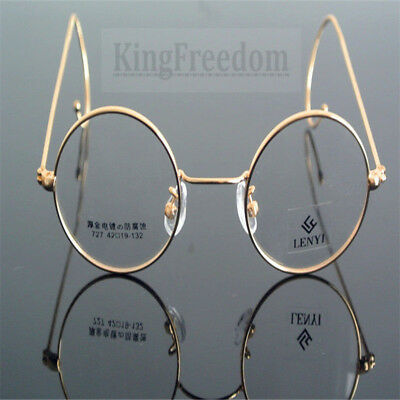 Vintage Round Gold Wire Full Rim Eyeglass Frame Spectacles Clear Lens Glasses