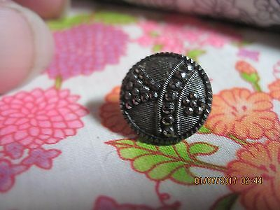 Antique L1800's-E 1900's Black Glass W/ Art Deco Steel Cut Overlay Button