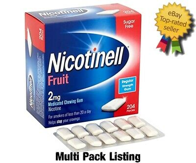 Nicotinell Fruit Medicated Gum 2mg pack of 204 pieces MULTIPLE PACKS Exp 03/2020