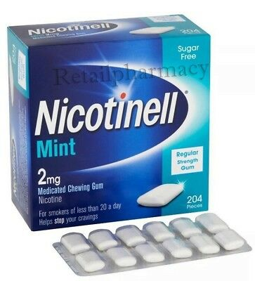 Nicotinell Mint Gum 2mg Medicated pack of  204 pieces 1 2 3 6 12 BulkBuy 04/2020
