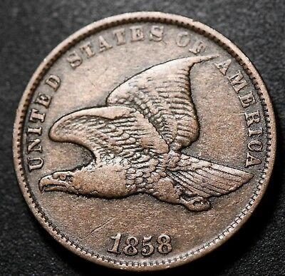 1858 FLYING EAGLE CENT - Small Letters SL - VF VERY FINE