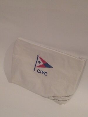Recycled Sail Bag-Zip Pouch, City Island Yacht Clue Burgee, Embroiled