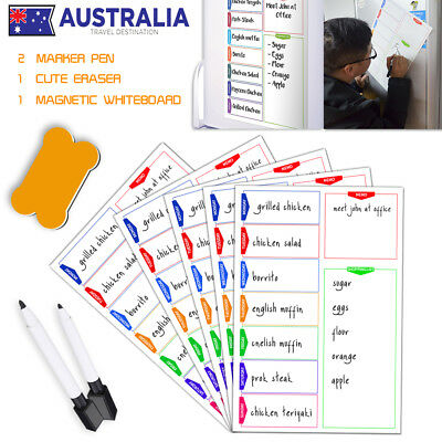 Aussie A3 Magnetic Whiteboard Family Weekly Planner Shopping List Markers Eraser