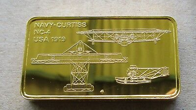 The Janes Medallic Register...navy Curtiss Nc-4....usa 1919....gold On Bronze