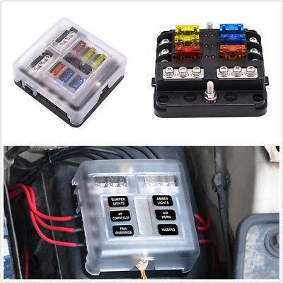 6 Way Fuse Holder PBT PC Fuse Box Block Case 12/24V For Car Truck Marine Boat RV