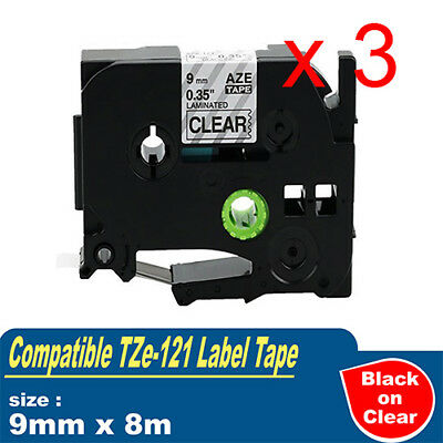 3x Compatible Brother P-touch Labels Tze121 Tape PT-900 PT-1000 9mm x 8m