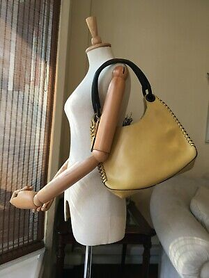Authentic Gucci Wooden Handle Whipstitch Yellow Leather Shoulder Hobo Bag