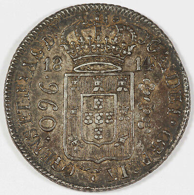 Brazil 1814 R 960 REIS 960R Silver Coin XF Toned Struck Over 1810 Chile 8 Reales