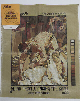"""Tapestry of """"Shearing the Rams"""" (after Tom Roberts) with 15 Skeins of DMC Wool"""