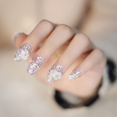 24 x Fashion 3D Flower Full Cover Fake False Nails Tip Stickers Glue-On style