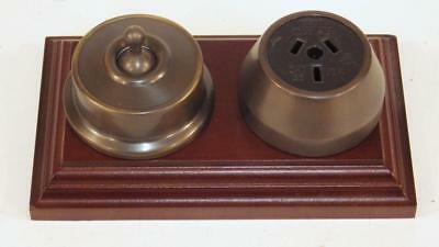 federation antique brass power point,outlet,switch socket on cedar wood block