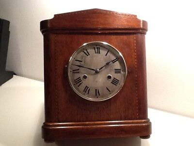Vintage Art Deco HAC(Hamburg American Clock Co.) Square Oak Cased Mantel Clock
