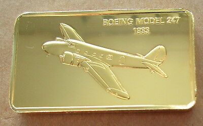 The Janes Medallic Register....boeing Model 247  Usa 1933..Gold On Bronze