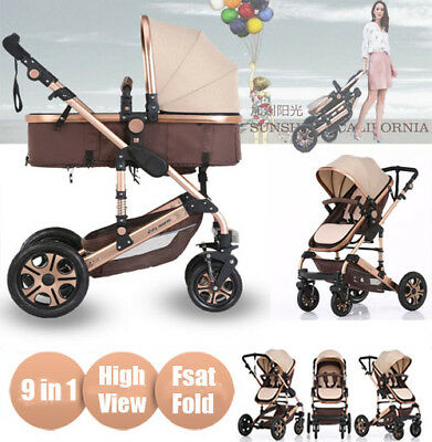 Luxury Baby stroller 9 in 1 Newborn Jogger Carriage Travel System Foldable Pram