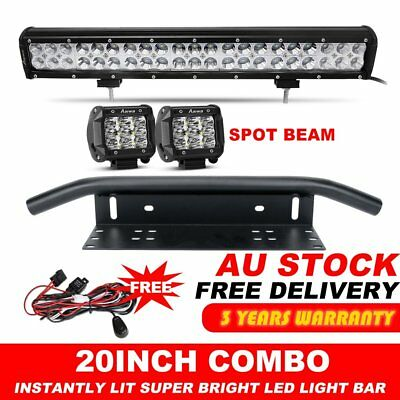 "20 inch CREE LED Light Bar + 23'' Black Number Plate Frame Mount Bracket+4"" Pods"