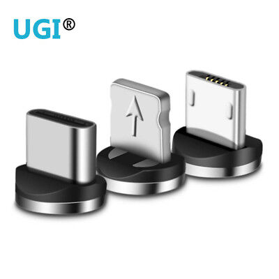 360° Magnetic Micro USB C Lightning Round Connector Adapter Charger For Cable