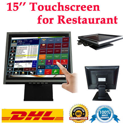 """15"""" LED Touchscreen Monitore Kassensystem Stand fit POS Cafe Resturant Retail"""