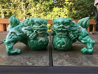 """Chinese Feng Shui Lucky Lion Foo Dogs Statue 6""""5H x 9""""w x 6""""5D"""