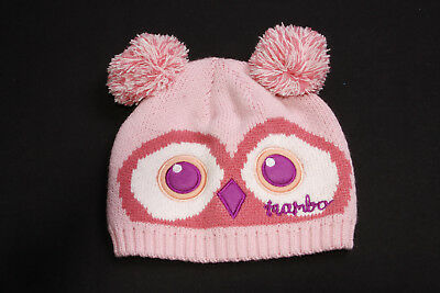 Cute Girls Winter Blush Pink Beanie Hat w Owl Eyes&Nose Two Large Pompoms (S548)