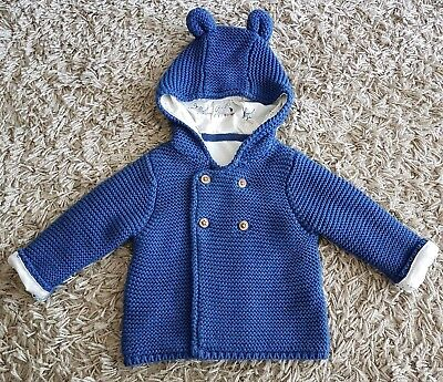 M&S Baby Navy Blue Thick Pure Cotton Chunky Knit Hooded Cardigan Ears 0-3 months