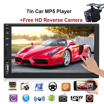 2Din 7'' Touch Screen Car Stereo MP5 Player FM Radio Bluetooth With FREE Camera