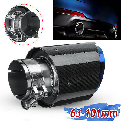 "63mm 2.5"" Glossy Carbon Fiber Universal Car Rear Exhaust Pipe Trim Tip Muffler"
