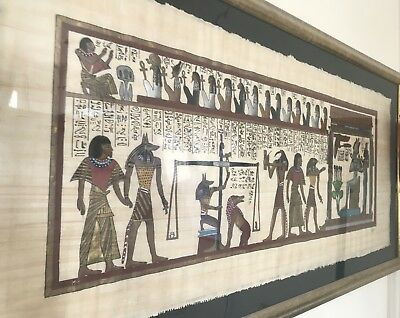 Old Rare LARGE Egyptian Hand Oil Painted Mythological Hieroglyphics Pharaoh