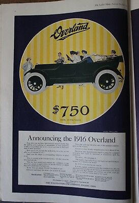 1915 Willys Overland Motor Car Tolego OH Magazine Ad LHJ July Coles Phillips EUC