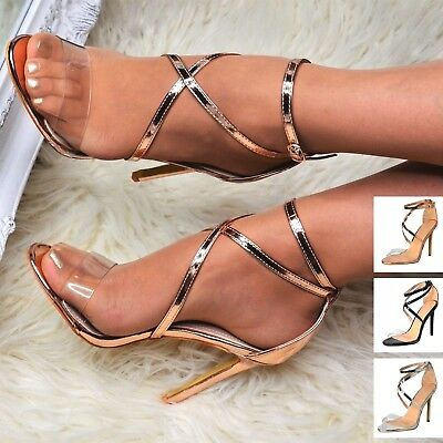 Womens Strappy Sandals Stiletto High Heel Ladies Open Toe Prom Party Shoes Size