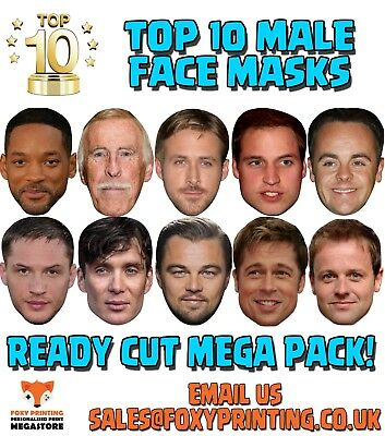 TOP 10 X MALE Celebrity Face Mask MEGA PACK Fancy Dress Costume Party READY CUT