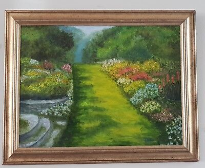 Oil Painting of a flower garden