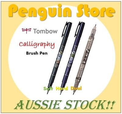 TOMBOW Fudenosuke Calligraphy Brush Pen Hard+Soft+Dual Tip - 3 Pen SET