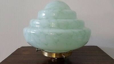 Vintage Art Deco Graduated Mint Green Mottled Light Shade