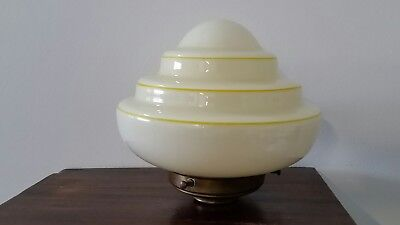 Vintage Art Deco Graduated Glass Yellow Lemon Beehive Light Shade