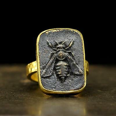 Ancient Roman Greek Art Honey Bee 24K Gold Vermeil 925 Sterling Silver Coin Ring