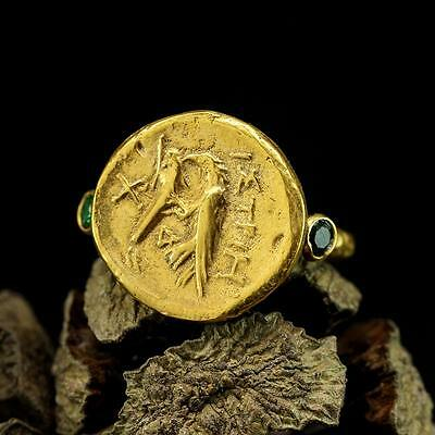 Ancient Greek Art Sea Eagle Signet Coin Ring 24K Gold Vermeil Sterling Silver