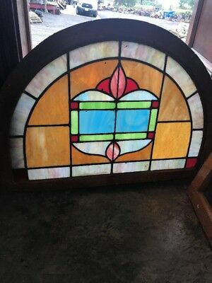 SG 2508 antique Stainglass arch top window 24 x 34