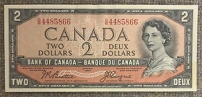 1954 Bank of Canada $2 Devil's Face Banknote - AU Condition