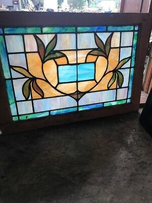 Sg 2509 Antique Stainglass Foliage Transom Window 22 X 32