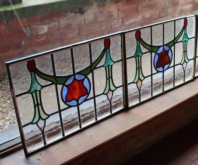 Reclaimed 1920s Leaded Stained Glass Windows - PAIR (price each)