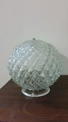 Vintage Clear Glass Diamond Hob Nob Light Shade