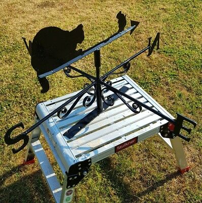 Vintage large  wrought iron 'cat and mouse' weather vane almost 3 feet wide