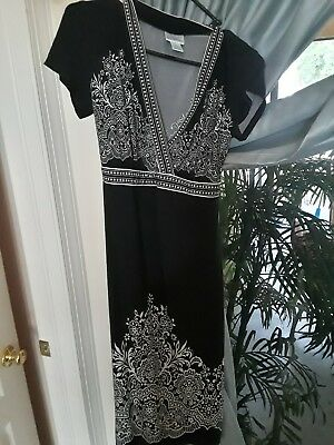 Motherhood Maternity Dress Size Small Black and White Belted S Cap Sleeve
